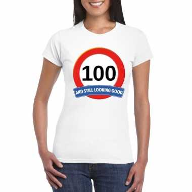 100 jaar verkeersbord t-shirt wit dames