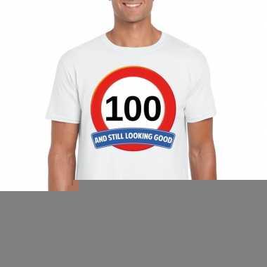 100 jaar verkeersbord t-shirt wit volwassenen