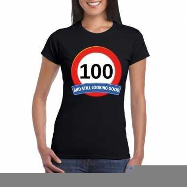 100 jaar verkeersbord t-shirt zwart dames