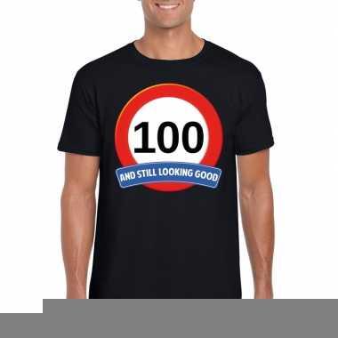 100 jaar verkeersbord t-shirt zwart volwassenen