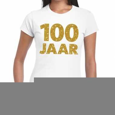 100e verjaardag cadeau t shirt wit goud dames