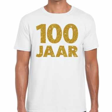 100e verjaardag cadeau t shirt wit goud heren