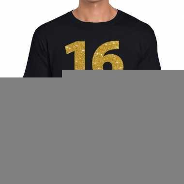 16 jaar gouden letters fun t shirt zwart heren