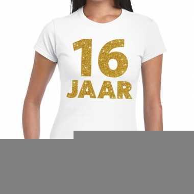16e verjaardag cadeau t shirt wit goud dames