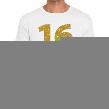 16e verjaardag cadeau t shirt wit goud heren