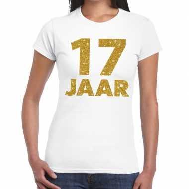 17e verjaardag cadeau t shirt wit goud dames