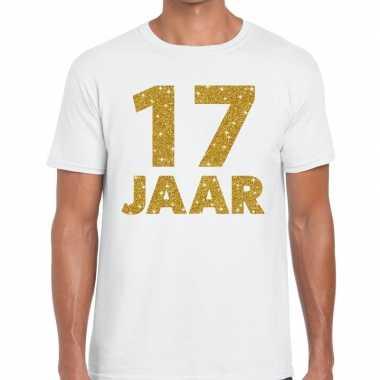17e verjaardag cadeau t-shirt wit goud heren