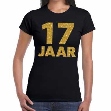17e verjaardag cadeau t shirt zwart goud dames