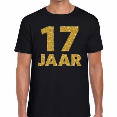 17e verjaardag cadeau t shirt zwart goud heren