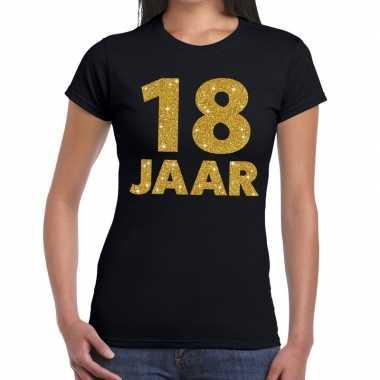 18 jaar fun t-shirt gouden tekst zwart dames