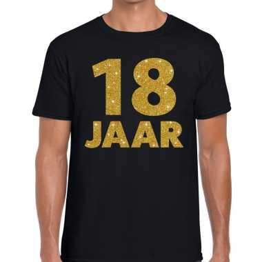 18 jaar gouden letters fun t-shirt zwart heren