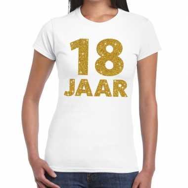 18e verjaardag cadeau t shirt wit goud dames