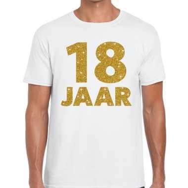 18e verjaardag cadeau t shirt wit goud heren