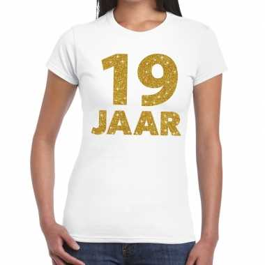 19e verjaardag cadeau t-shirt wit goud dames