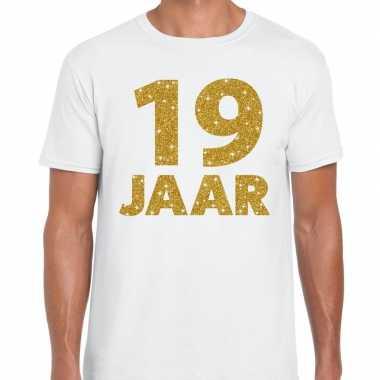 19e verjaardag cadeau t shirt wit goud heren