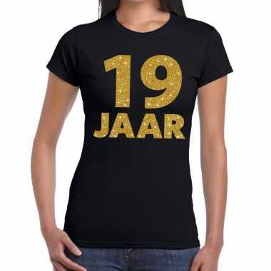 19e verjaardag cadeau t-shirt zwart goud dames