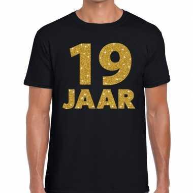 19e verjaardag cadeau t shirt zwart goud heren