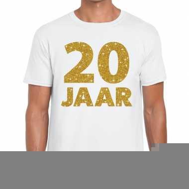 20e verjaardag cadeau t shirt wit goud heren