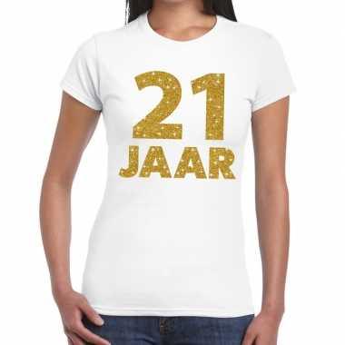 21e verjaardag cadeau t-shirt wit goud dames