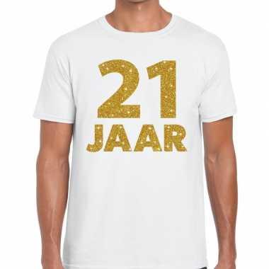 21e verjaardag cadeau t-shirt wit goud heren