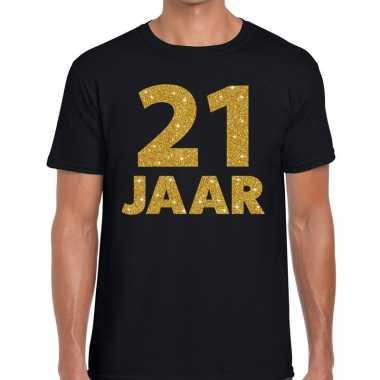 21e verjaardag cadeau t shirt zwart goud heren