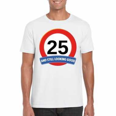 25 jaar verkeersbord t-shirt wit volwassenen