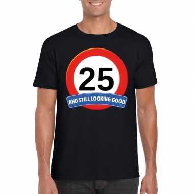 25 jaar verkeersbord t-shirt zwart volwassenen