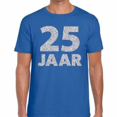 25e verjaardag cadeau shirt blauw zilver heren