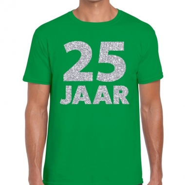 25e verjaardag cadeau shirt groen zilver heren