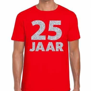 25e verjaardag cadeau shirt rood zilver heren