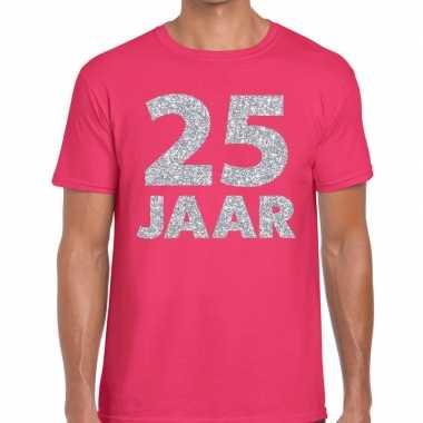25e verjaardag cadeau shirt roze zilver heren