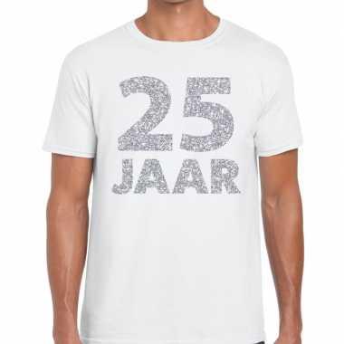 25e verjaardag cadeau shirt wit zilver heren
