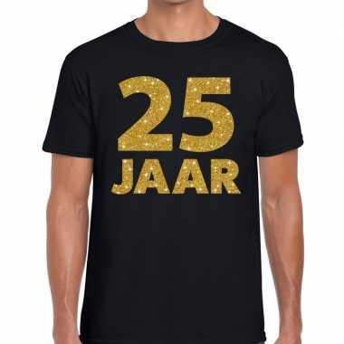 25e verjaardag cadeau shirt zwart goud heren