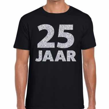25e verjaardag cadeau shirt zwart zilver heren