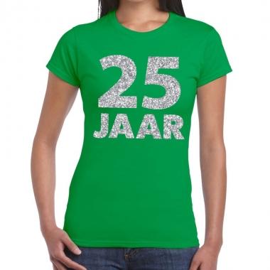 25e verjaardag cadeau t shirt groen zilver dames