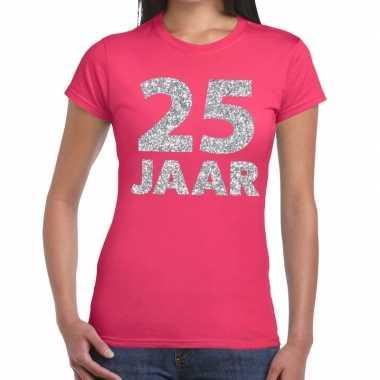 25e verjaardag cadeau t shirt roze zilver dames
