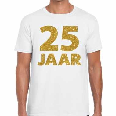 25e verjaardag cadeau t shirt wit goud heren