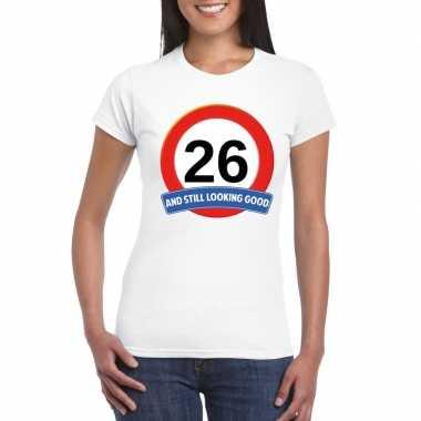 26 jaar verkeersbord t shirt wit dames