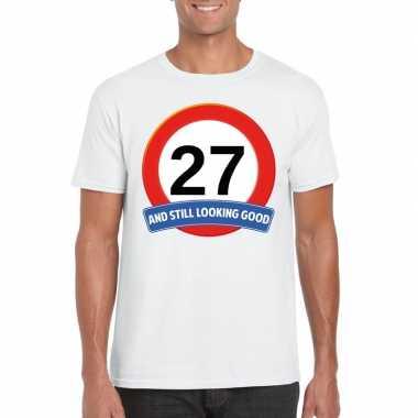 27 jaar verkeersbord t shirt wit heren
