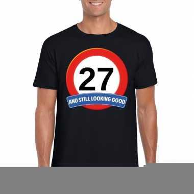 27 jaar verkeersbord t shirt zwart heren