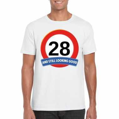 28 jaar verkeersbord t shirt wit heren