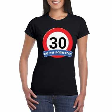 30 jaar verkeersbord t-shirt zwart dames