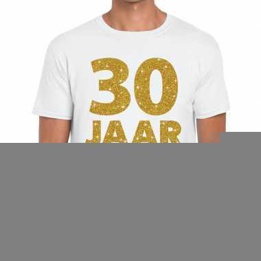 30e verjaardag cadeau t shirt wit goud heren