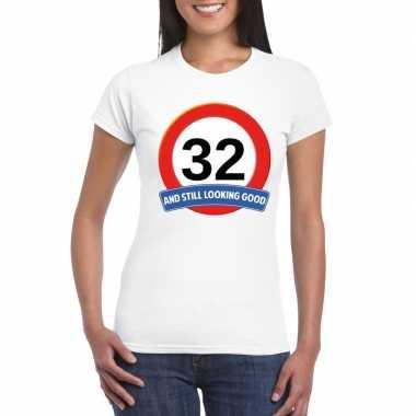 32 jaar verkeersbord t shirt wit dames