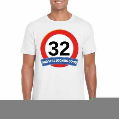 32 jaar verkeersbord t shirt wit heren