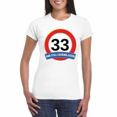 33 jaar verkeersbord t shirt wit dames
