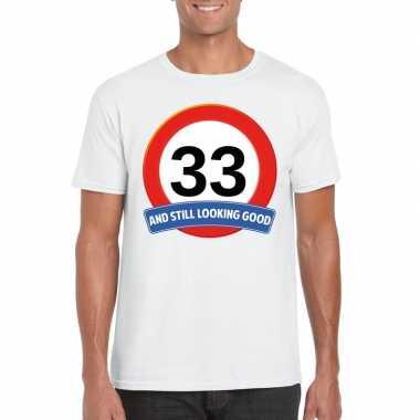 33 jaar verkeersbord t shirt wit heren