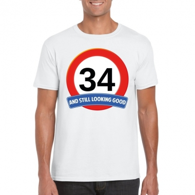 34 jaar verkeersbord t shirt wit heren