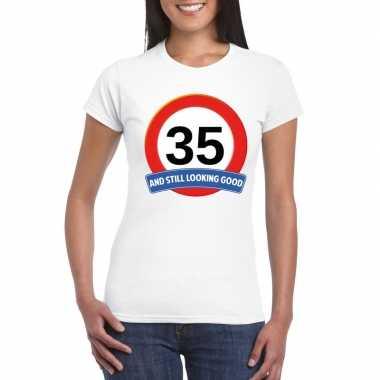 35 jaar verkeersbord t-shirt wit dames