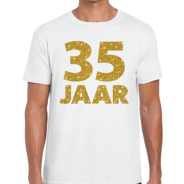 35e verjaardag cadeau t shirt wit goud heren